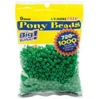 500pc Kiwi Green Opaque 9x6mm Barrel Pony Beads Made in the USA by The Beadery