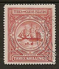 TURKS & CAICOS 1900 3/- BADGE SG109 SUPERB USED