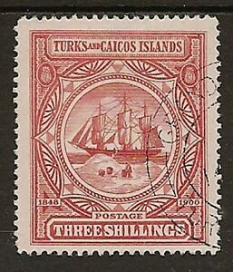 TURKS & CAICOS 1900 3/- BADGE SG109 SUPERB USED
