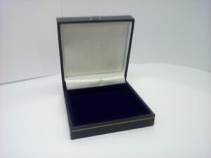 Classic Blue Leatherette Jewelry display Box Lid lined with White satin 1.5.10