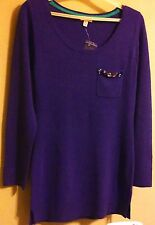 BONGO Purple Acrylic Sweater with Jeweled Chest Pocket Women Size Medium
