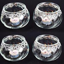 4 Pieces Crystal Clear Glass Tea Light Candle Holder & Heart Shape Wedding Decor