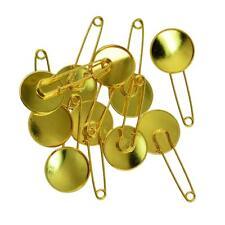 10x Gold Scarf Brooch Hijab Safety Pin Cabochon Cameo Settings Base DIY 20mm