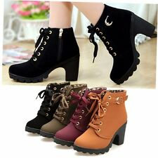Women High Heels Lace Up Ankle Boots Ladies Zipper Buckle Platform Martin Shoes