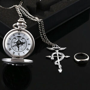 Anime Fullmetal Alchemist Pocket Watch with Necklace Ring Set Cosplay Prop Gift