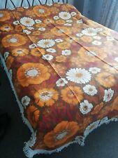Vintage Retro 70's orange,yellow,white Bedspread Campervan Cover Flower Power