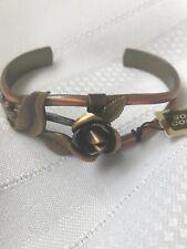 Vintage Solid Copper Cuff Bracelet Three Dimensional Rose
