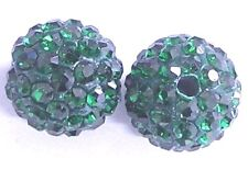 10 Emerald Strass Clay Pave 8 mm Perles Pour Shamballa Bracelets