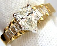 GIA 2.04ct. Pear Brilliant diamond baguette ring Raised Cathedral 18kt+