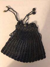 Vintage Small Beaded Drawstring Bag Iridescent Black
