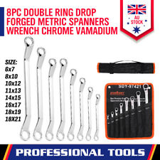 8-Piece Double Ring End Offset Spanner Wrench Set Metric 6-21mm Canvas Pouch Bag
