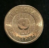 "2012 "" POPPY ""AUSTRALIAN REMEMBRANCE DAY"" Golden Colour Poppy $2 UNCIRCULATED"