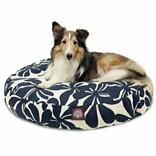 Navy Blue Plantation Medium Round Indoor Outdoor Pet Dog Bed With Removable W.