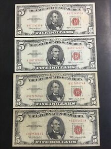 1963 FEDERAL RESERVE PAPER MONEY - 5 DOLLARS RED SEAL NOTE LOT OF 4 BANKNOTES!