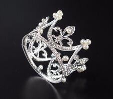 Super Mini Circle Round Pearl Crown Kid Bridal Princess Rhinestone Tiara Crowns