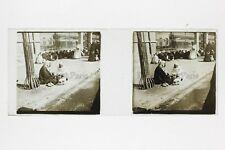 Egypte scène de rue Plaque de verre Stereo Positif Vintage ca 1910