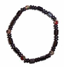 MAGNETIC HAEMATITE and LAMPWORK BEAD BRACELET hematite mg8c