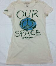 KITSON Womens Short Sleeve T-Shirt Cream w/ Print/ Rhinestones World Peace Sz S