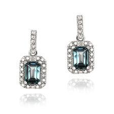 925 Silver 2.5ct London Blue Topaz & Diamond Dangle Earrings