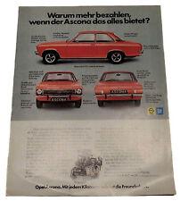 Opel Ascona A Werbung Reklame Anzeige ca.A4