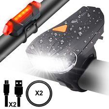 LED USB Fahrradlicht Fahrradbeleuchtung Fahrradlampe Scheinwerfer Rücklicht Set