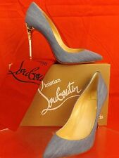 NIB LOUBOUTIN PIGALLE FOLLIES 100 BLUE DENIM WHITE FLORAL PRINT HEEL PUMPS 39.5