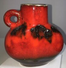 """Superb 'Fat Lava' Jug Vase - Red and Black with Black Crusty Lava 1970's   5"""""""