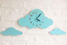 WANDUHR Wolken BABY UHR Kinderzimmer SET 40x80 cm 4 tlg. NEU blau HOLZ