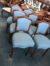 SET OF 6 VICTORIAN STYLE WALNUT SHIELD BACK DINING CHAIRS ON TURNED LEGS