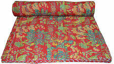 Kantha Red Bird Print Quilt Bedding Gudri Gudari Patchwork Queen Size Handmade