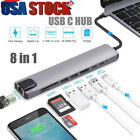 8 in 1 Multiport USB-C Hub Type C To USB 3.0 4K HDMI Adapter For Macbook Pro/Air
