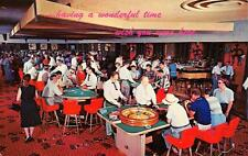 LAS VEGAS, NV Gambling Casino Interior Roulette Blackjack Nevada Postcard c1960s