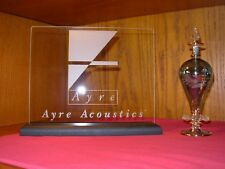 AYRE ACOUSTICS ETCHED GLASS SIGN W/BLACK OAK BASE