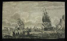 Gravure originale du XVIIIe chasse à la baleine banquise pôle nord antartique