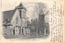Corning New York Episcopal & First Methodist Churches~Air Brushed Postcard 1905