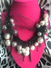 Betsey Johnson Vintage Black Lucite Skull Tulle Pearl Cluster Spike Necklace