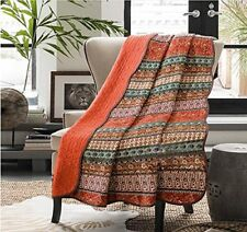 Unimall Reversible Patchwork Cotton Quilted Blanket Throws for Settees Boho Indi