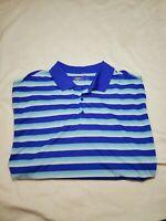 Nike Golf Dri Fit stripe Blue & White Polo Shirt Short Sleeve 3-Button size 2XL