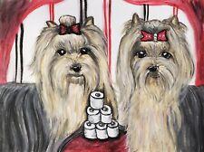 YORKIE Hoarding TP Original 9x12 Pastel Painting Dog Art Signed Vintage Style