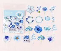 Pack of 45 Pieces Blue Flower Shaped Various Stickers Seals Cards & Craft