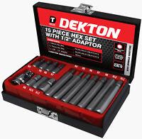 Dekton 15 Piece Hex Bit Set With 3/8'' -  1/2''Adapter Tool Set Kit Storage Case