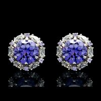2.00CT Purple Amethyst Halo Marquise Created Diamond Earrings 14k White Gold
