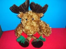"Unipak 19"" HUGGIES MOOSE Plush Wearing Red Green Christmas Scarf Soft Furry NWT"