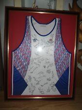 retro vintage athletic running vest barcelona games 1992 autographed and framed