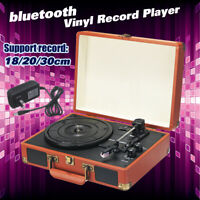 bluetooth Vinyl Record Player Turntable 2.0 Stereo Speaker 3Speed Radio