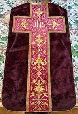 Antique French Hand Embroidery Church Vestment Chasuble Priest Silk+Valvet IHS