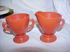 COLLECTIBLE VINTAGE HAZEL ATLAS OVIDE OPEN SUGAR BOWL & CREAMER
