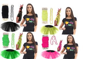 Ladies NEON 80'S T Shirt Fancy Dress Tutu Skirt Leg Warmers & Fishnet Gloves SET