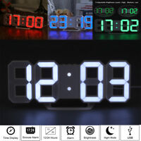 LED Digital 3D Table Desk Wall Clock Alarm 24/12Hr Display USB/Battery Home Deco
