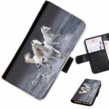 horc01 Caballo Mar Impreso Cartera De Cuero / Funda libro para teléfono móvil